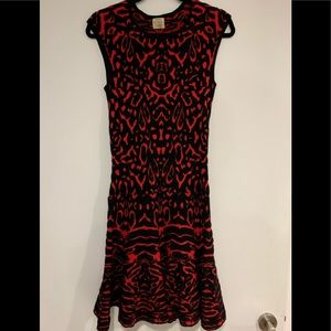 Torn by Ronny Kobo red and back fit/flare dress L
